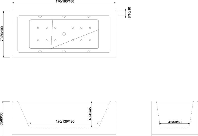 Cada de baie Quadra Model: 1800mm x 800mm x 450mm. Poza 10859