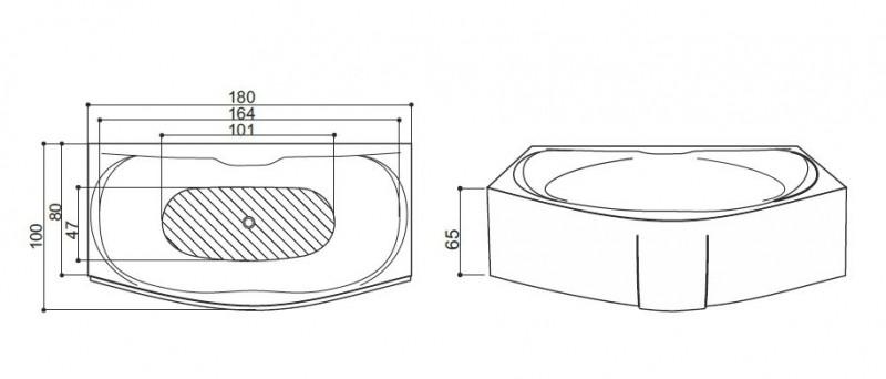 Cada de baie Sardegna Model: 1800mm x 850mm/1050mm x 460mm. Poza 11014
