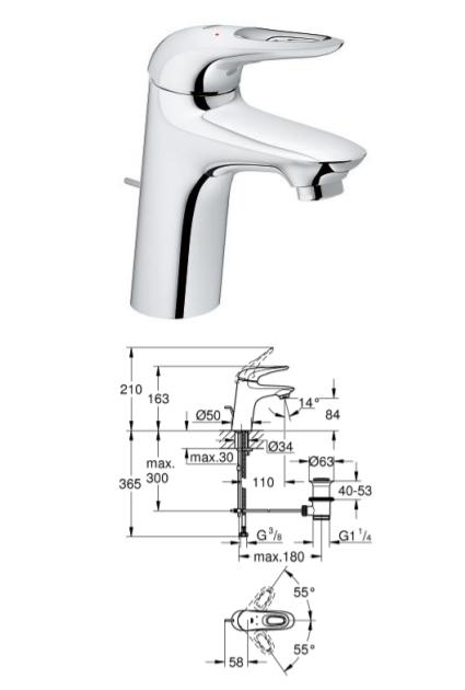 Poza BATERIE LAVOAR EUROSTYLE NEW S-SIZE, MANER LOOP GROHE. Poza 17452