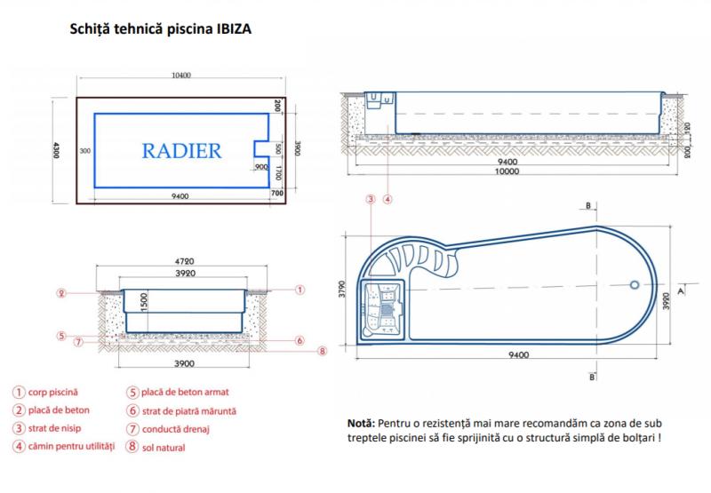 Poza Piscina IBIZA constructie clasica + SISTEM COMPLET + CAMIN TEHNIC 940 X 390 X 150 FIBREX. Poza 17781
