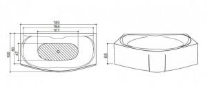 Poza Cada de baie Sardegna Model: 1800mm x 850mm/1050mm x 460mm. Poza 11014